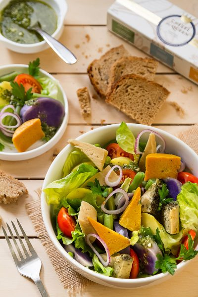 Colorful winter salad with the all three Cheese the Queen flavors